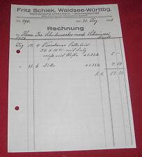 rechnung alt antik fritz schiek waldsee drechslerei schirmgeschäft 1928 papier