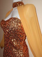 NEW ORIGINAL SEQUIN GOLD BODYCON KNEE SEXY DRESS PARTY NIGHT SLEEVES W EVENNING