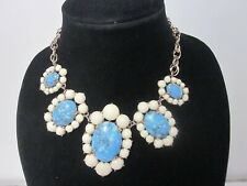 Color Bead Gold Tone Choker Necklace Vintage Ann Taylor Blue Turquoise & Cream