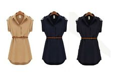 Women Short Sleeve Loose Chiffon Shirt Polo Neck Mini Dress With Belt