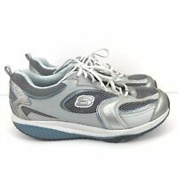 Skechers Shape Up 12320 Womens Silver Blue and White Walking Shoes Size 11