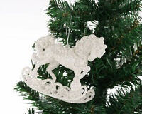 XMS-01 3pcs Sparkly SILVER WHITE HORSE Christmas XMAS Tree Hanging Decorations