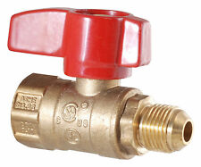 "LDR 020 1540 1/2"" I.P.S. X 3/8"" Flare Gas Ball Valve Male Brass Heavy Duty CSA A"