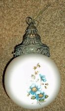 Vintage white Glass Globe Hanging Light Fixture lamp with Ornate Blue Flowers