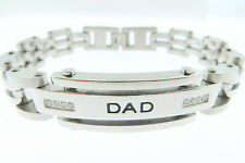 Men's Solid Shinny Stainless Steel Dad ID Genuine Diamond Bracelet 9  Inches
