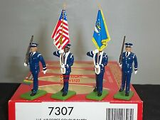 BRITAINS 7307 AMERICAN US AIRFORCE COLOUR PARTY METAL TOY SOLDIER FIGURE SET