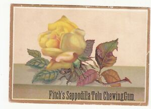 Fitch's Sappodilla Tolu Chewing Gum Yellow Rose Embossed Vict Card c1880s