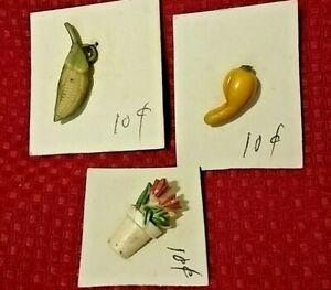 Vintage Button Lot Bakelite Fruit Corn Flowers Small Miniature 1 inch
