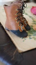"""Leather shoes """"Old Wood"""" for antique FASHION doll French style(2,28inch/58mm)"""
