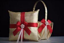 Red Gold Flower Girl Basket & Ring Bearer Pillow Gold Red Wedding Ring Pillow