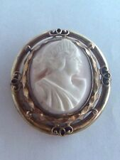 Late Victorian Carved Angel Skin Coral Cameo Brooch