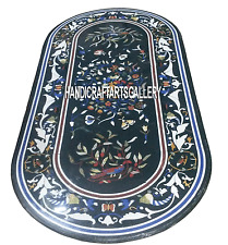 4'x2' Black Marble Marquetry Work Dining Table Top Pietra Dura Inlaid Arts H3308