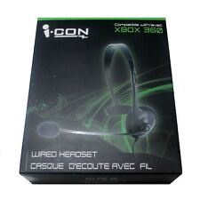 NEW FACTORY SEALED i-CON ICON WIRED HEADSET FOR XBOX 360 BLACK