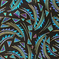 Kenta Fabric in Turquoise & Gold on Black Quilting Sewing Crafts 18 x 43""