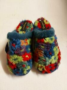 Womens Sleepers Slip-on Mule Fluffy Colourful Cosy Fuchsia Blue Multi Slippers