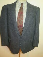 "Genuine Harris Tweed men's grey herringbone pattern blazer Jacket 48"" R Euro 58R"