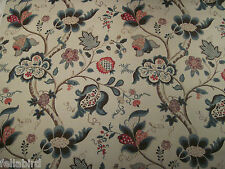 SANDERSON CURTAIN FABRIC Roslyn 3.55 METRES TEAL & CHERRY 100% LINEN VINTAGE CO