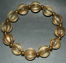 tibet worry prayer beads mala glass old melon rosary tibetan bracelet pumpkin