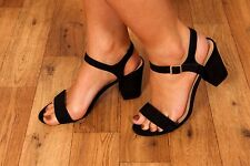 black faux suede single strap barely there heels size 7