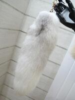 Nature Car Keyring Cross Fox Tail Fur Keychain Tassel Bag Charm Handbag Ring US
