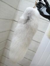 Natural Car Keyring Cross Fox Tail Fur Keychain Tassel BagTag Charm Handbag Ring