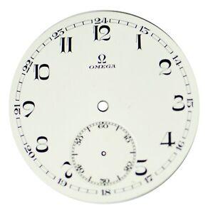 Orig. NOS Vint Omega Porcelain Pocket Watch Dial with Sunken Seconds Track #10