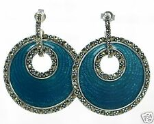 Blue Enamel Circle Drop Earrings ' Solid 925 Sterling Silver Marcasite and