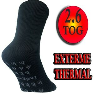 2 Mens Slipper Socks gripper EXTREME THERMAL TOG RATED  lounge HEAT INSULATING