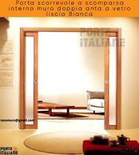 Porta scorrevole a scomparsa interno muro doppia anta a vetro liscia Bianca
