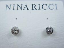 Earrings with Swarovski Crystals 1682 Nina Ricci Rhodium Plated Tiny Pierced