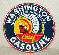 Washington Gas Oil Porcelain Enamel Sign Gas Pump Plate Man Cave Station