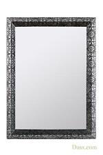 DUSX Chaandhi Kar Decorative Wall Mirror Blackened Silver Metal Embossed