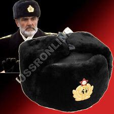 18a41b12d4b Russian Military Mens Sheepskin Leather Ushanka Winter Fur Hat + Badge
