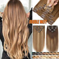 Thick Double Weft Clip In 100% Remy Human Hair Extensions Full Head Highlight QR