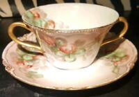 Antique Limoges France Porcelain Haviland Cup & Saucer Gilt Gold