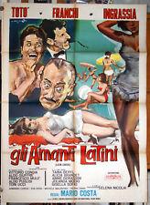 manifesto 2F film GLI AMANTI LATINI Toto' Franco Franchi Ciccio Ingrassia 1965
