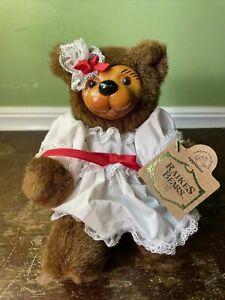 """Raikes Bears 7"""" Collector's Club Wood Face And Feet 'Tammy' tag Signed Excellent"""
