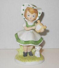 Vtg Lefton Irish Country Lass Girl Figurine Cat Lyre Harp Green St Patrick's Day