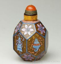 "Great Old Painting ""Auspicious Pattern""  Colored Enamel Glass Snuff Bottle"