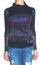 EUC Womens Small SOGGO Collection Purple Blue Cowl Neck Velvet Accent Top Shirt
