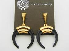 $48 Vince Camuto *Summer Horn* Black Crescent Drop Earrings Goldtone Metal