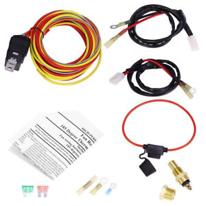 12V Dual Lead Car Cooling Fan Wiring Harness Kit Thermostat 40A Relay Universal