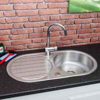 Stainless Steel Inset Round Kitchen Sink Single Bowl Reversible Drainer + Waste