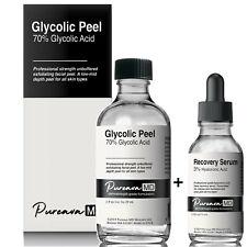30 50% 70% Glycolic Acid Skin Chemical Peel Kit +Hyaluronic Recovery Serum/Cream