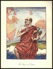 "RUDYARD KIPLING ""The Singer of Empire"" RARE PUNCH Color Illustration From 1935"