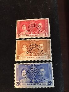 1937 king george VI coronation specimen stamps, 1,1 1/2, 2 1/2 d , mint not hing