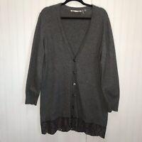 Soft Surroundings Gray Button Front Cardigan Lace Hem Women's Size Large