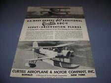 VINTAGE.. 1936 CURTISS SOC-1 SCOUT PLANE.. ORIGINAL SALES AD...RARE! (391M)