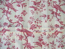 COUPON STYLE TOILE A MATELAS RAYURES BEIGES OISEAUX ROUGES  - J 1/3