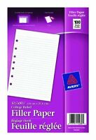 "Avery Mini Binder Filler Paper - College Ruled - 5.50"" X 8.50"" - 100 / Pack -"